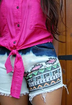 Neon Aztec Tribal Levi's Shorts