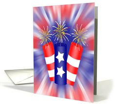 Trio of Firecrackers for the 4th of July card #4thofjuly #independenceDay #redwhiteandblue #fireworks