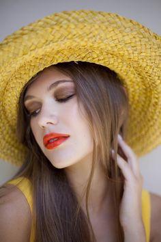 Coral lips/ Golden brown eyeshadows Make up by Panos Kallitsis Salon