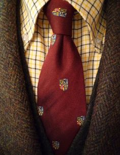 Dark brown tweed jacket, yellow plaid shirt, red tie