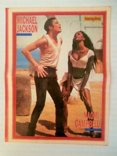 Michael Jackson Naomi Cambell 90210 Double Side Poster 1980's Greek Magazine | eBay