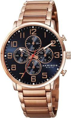 Akribos Xxiv Ak810Rgbu Chronograph Gmt Blue Dial Arabic Numerals Mens Watch