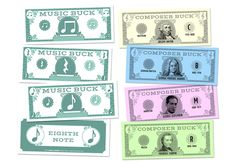 "MUSIC BUCKS Rhythm & Composer Bucks Set - Fun new incentives for practice, progress, and behavior! Kids will want to collect them all, or save their bucks to buy treats or earn special awards. Pass out bucks as an easy way to track scores in individual and team games! 5.5"" x 2"". Pkg. of 144"