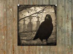 Gothic Decor, graveyard raven, vintage sepia, collage crow art, silver halide print, dark bird - Eerie Crow. $16.00, via Etsy.
