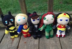 Have the power of these little Superhero Girls in the palm of your hand! These Superhero Girls (Batgirl, Supergirl, Catwoman, Poison Ivy, and Wonder Batgirl, Catwoman, Supergirl, Hand Crochet, Crochet Toys, Knit Crochet, Superhero Kids, Comic Book Characters, Poison Ivy