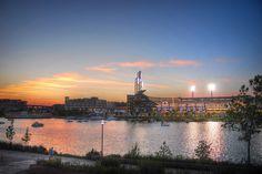PNC Park at dusk, courtesy of @thespencerphoto