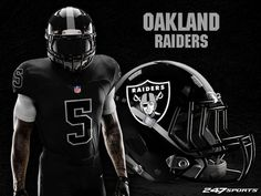 Some football fans love concept uniforms, while others prefer the old-school look. If you're the latter, these blackout uniform designs may just change. Raiders Helmet, Nfl Raiders, Oakland Raiders, Nfl Fans, Football Fans, Football Stuff, Football Jerseys, Football Helmets, Ohio State Helmet