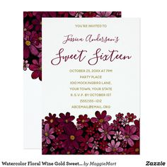 Watercolor Floral Wine Gold Sweet 16 Birthday Card #red #sweetsixteen #sweet16 #cranberry #invitations #floral #floralart #floralwatercolor #birthday #zazzle #botanical