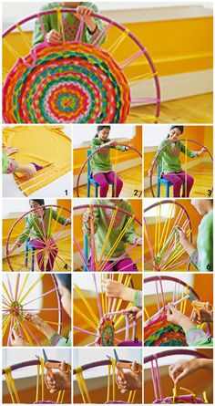 DIY make a carpet with t-shirts... I love this! I made several of these rugs years ago but used a different type of hoop! I never thought of a Hula Hoop! Hope to try this when life settles down!