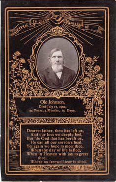 Memorial Card for Ole Johnson (1808-1902)