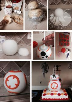 Rice Crispy treat BB-8 cake topper