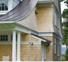 Fared shingles with trim Shingle Style Architecture, Residential Architecture, Cedar Shingles, Cedar Siding, Shingle Siding, Bungalow Renovation, Architect Design, Home Remodeling, Snow
