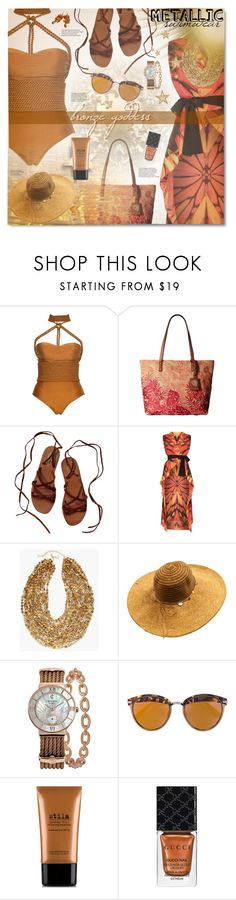 """""""You're Golden: Metallic Swimwear"""" by nosleeptilbrooklyn ❤ liked on Polyvore featuring Lenny, Tommy Bahama, Scotch & Soda, Gottex, Chico's, Charriol, Christian Dior, Stila, Gucci and contestentry"""