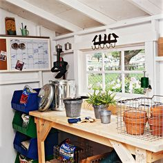 Storage Secrets for Your Garden Shed Add a Potting Bench Tidy up your shed and look for room for a potting bench. That way you can plant or repot your favorite container plants even when it's raining. And it keeps your bags of potting mix dry. Shed Organization, Shed Storage, Storage Ideas, Storage Bins, Plastic Storage, Plastic Bins, Bike Storage, Tool Storage, Organizing Ideas