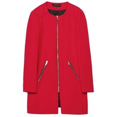 Pre-owned Zara Fall Jacket New With Tags Xs Trench Coat ($129) ❤ liked on Polyvore featuring outerwear, coats, jackets, coats & jackets, red, red trenchcoat, red coat, zip coat, trench coat and zara coats
