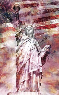 size: Giclee Print: Modern Art Statue Of Liberty Red by Melanie Viola : This exceptional art print was made using a sophisticated giclée printing process, which deliver pure, rich color and remarkable detail. American Freedom, American Pride, American Flag, American History, I Love America, God Bless America, Patriotic Pictures, Liberty Blue, Flag Art