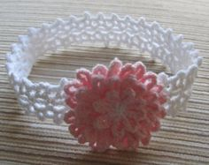 Crochet Pattern 156 Baby Headband with a Pink by handknitsbyElena