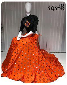 Orange color mirror work crop top lehenga choli / Lehenga choli for women / Readymade blouse / Chaniya choli / designer lehenga / lengha by AashimaDesign on Etsy Cotton Lehenga, Lehenga Choli, Indian Gowns Dresses, Indian Outfits, Emo Outfits, Chaniya Choli Designer, Navratri Dress, Choli Designs, Lehenga Designs