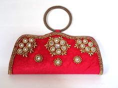 PINK VELVET BRIDAL PURSE SB111 for more details visit www.streetbazaar.in #fashion #style #handy #hot #pink #bridal #velvet #purse