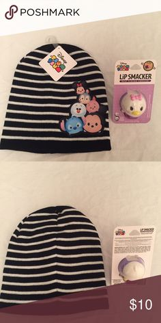Disney Tsum Tsum Kids Beanie Hat + Lip Smacker Included here is a Disney Tsum Tsum kids' beanie hat, plus a Disney Tsum Tsum Daisy Duck Lip Smacker (Glamorous Cotton Candy Flavor). Both items are brand-new. If you have any questions, please ask! Disney Accessories Hats