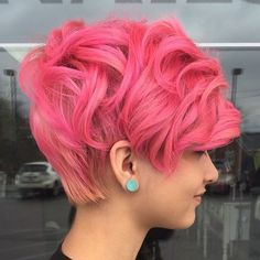 11 curly pastel pink pixie