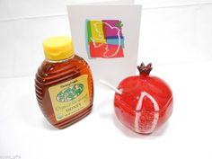 Rosh Hashana Gift Handmade Pomegranate Ceramic Honey Pot + Organic Kosher Honey #Handmade