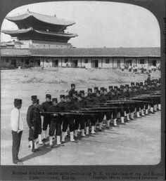 Seoul: Korean soldiers training with bayonets at Gyongbukgung Palace, circa 1904