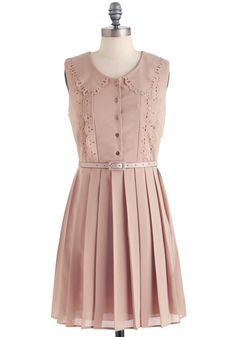Mauve-in Ready Dress - Mid-length, Solid, Pleats, Shirt Dress, Sleeveless, Casual, Vintage Inspired, Pink, Cutout, Peter Pan Collar, Scallops