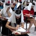 """Thai students invent an """"Anti-cheating hat"""" for themselves lol"""