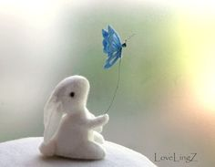 Felt butterfly bunny  white posable artist miniature by LoveLingZ,