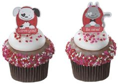 Be Mine Love Puppy Kitty Valentine Day Food Cupcake Topper Pick 12 ct Wedding Cake Toppers, Cupcake Toppers, Wedding Cakes, Valentines Day Food, Cat Valentine, Bakery Cakes, Kitty, Puppies, Desserts