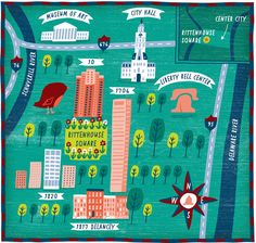 Philadelphia illustrated Map for The Wall Street Journal by Nate Padavick