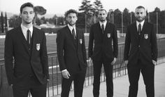 Azzurri fashion: De Sciglio, Marchisio, Chiellini, and De Rossi in their World Cup suits by Dolce & Gabbana Italian Soccer Team, Italy National Football Team, Claudio Marchisio, Gq Australia, World Cup Teams, Singapore Fashion, International Football, Mens Attire, World Cup 2014