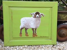 Whimsical handpainted ram sheep on vintage cupboard door Charming and Shabby Chic baby nursery gift Annie Sloan Chalk paint Two Whimsies
