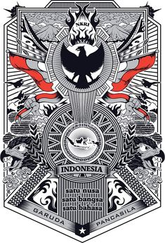 'Garuda Pancasila' Sticker by ghinan Indonesian Art, Fox Illustration, Drawing Clothes, Fantastic Art, Creative Logo, Design Reference, Figurative Art, Painting Inspiration, Vector Art