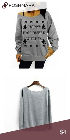 Women Printed Off Shoulder Pullover Slouchy Shirt Halloween Pattern Material: Cotton,Cotton Blend, Soft and Comfortable Wide Neck, Off Shoulder, Long Sleeve Slouchy Shirt Hand Wash and Machine Washable Perfect for Halloween Party, Casual Wear, Unique Style, Make You More Charming and Attractive. Tops Sweatshirts & Hoodies