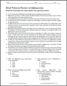 Printables Social Studies Worksheets For 7th Grade student the words and on pinterest brief political history of afghanistan multiple choice worksheet free to print pdf file