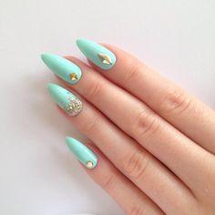 Mint stud & glitter stiletto nails Nail by prettylittlepolish