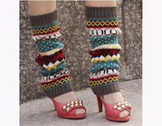 Grijs Multi Color Knit Meisjes Beenwarmers