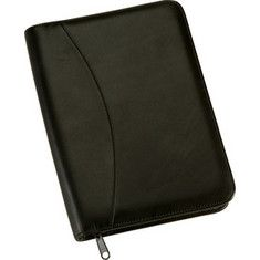Royce Leather  Zip Around Jr Writing Padfolio 742-5 - Black Leather/Carnation Pink Suede