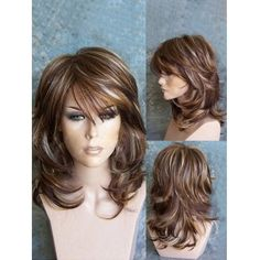 Buy Medium Side Bang Highlighted Layered Slightly Curled Synthetic Wig, sale end… - Frisuren Hairstyles With Bangs, Braided Hairstyles, Hairstyles For Medium Length Hair With Layers, Medium Hair Styles For Women With Layers, Medium Layered Hairstyles, Drawing Hairstyles, Hairstyles Videos, Wigs With Bangs, Easy Hairstyle