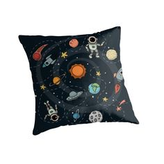 Outer Space Planetary Illustration | RedBubble Black Throw Pillow | Available for all Homes at our RedBubble Store
