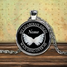 My Guardian Angel Forever Watching Over Me Memorial Necklace for Loved One. **** Personalized with any Name you would like on necklace. When ordering add Name in the notes to seller section. ******** Please double check your spelling. *****You can also use your pendant as a charm, Attach it to your key chain, wallet, purse, hang it on your rear view mirror... There are endless possibilities for showing off your pendant.  ***UV Resistant * Waterproof * 100% Made In The USA ***18 inch High…