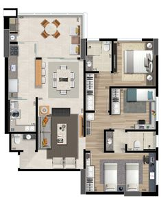 Pinterest: @claudiagabg | Apartamento 3 cuartos 1 estudio abierto terraza