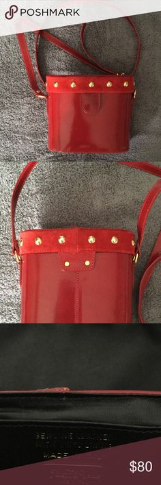 "Saks Fifth Avenue Cross Body Bag Saks Fifth Avenue Cross Body Bag, Red Genuine Leather with Vinyl Lining, 6.5"" by 6"" shows sign of wear picture 6 and 7 Saks Fifth Avenue Bags Crossbody Bags"