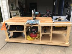 Workbench Plans for Garage . Workbench Plans for Garage . Different Kind Of Easy Diy Workbench Table Saw Workbench, Diy Workbench, Rolling Workbench, Industrial Workbench, Workbench Designs, Miter Saw Table, Building A Workbench, Diy Table Saw, Router Table