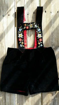 Vintage Kid's Embroidered Black Velvet German Lederhosen, Rhinestone & Flower Lederhosen, Swedish Made Lederhosen, Toddler Lederhosen size 3