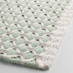 Give your bare feet a soft place to land with our cotton bath mat. It features an intricate basket-weave design in mint and gray with a solid vertical side border. Mint Bathroom, Yellow Bathroom Decor, Yellow Bathrooms, Chic Bathrooms, Bathroom Ideas, Downstairs Bathroom, Wool Carpet, Grey Carpet, Loom Weaving