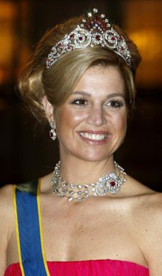 Queen Maxima of the Netherlands wearing the Diamond and Ruby Peacock Tiara made…