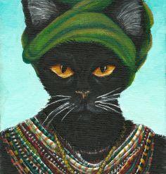 Black Cat Art Native African Cat Wearing Tribal by TaraFlyArt, $35.00